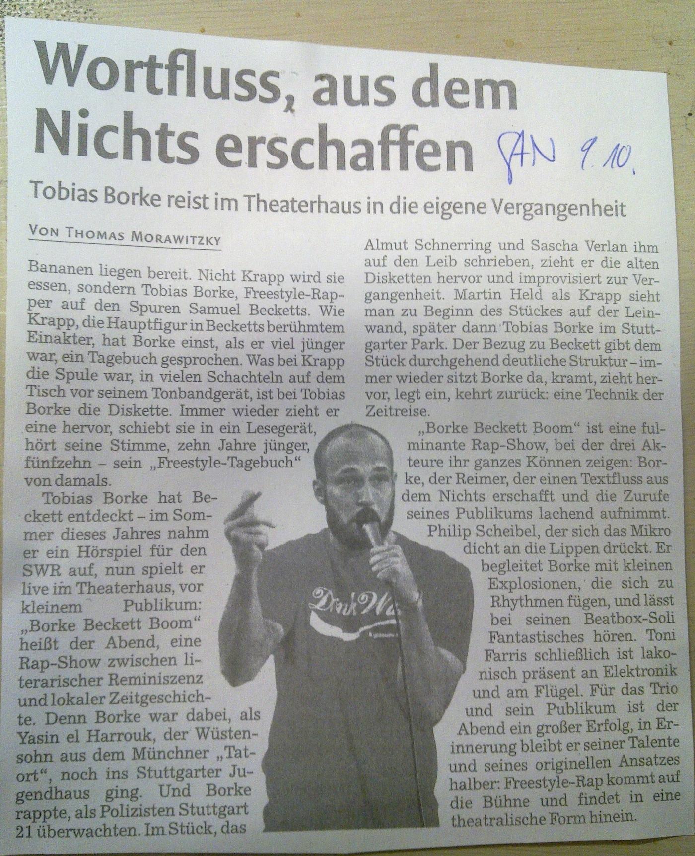Borke-Becket-Boom, Stuttgarter Nachrichten, 9.10.14