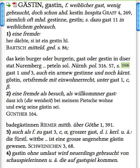 """Eintrag """"Gästin"""" aus dem Grimm'schen Wörterbuch"""
